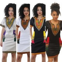 Wholesale Print Kaftan - XXXL New African Fashion Women Sexy Bohemian Traditional African Print Dashiki Bodycon Dress V-Neck Short Sleeves Tribe Kaftan 666