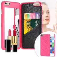 Wholesale Iphone Flip Magic - iFrogz Charisma Magic Mirror Wallet Case Lady Make Up Flip PU Leather Case for iPhone 6 Plus with Card Slot