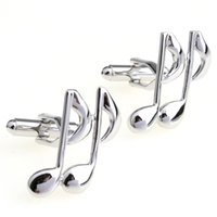 Wholesale Music Notes Painting - Free shipping Music Note CuffLinks for Shirts Cuff links Glossy Silver Paint Color Metal Pattern High Quality Cuff-links 930028