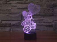 Wholesale Teddy Night Light - 2017 Teddy Bear New Style 3D Optical Night Light 9 LEDs Night Light DC 5V Factory Wholesale