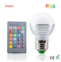E27 16 cores Mudando 3W 85-265V magic RGB LED Lamp Stage DJ Light Dimmable RGB Bulb + 24key IR Controle remoto L001
