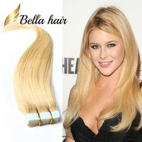 Wholesale Remy Hair Extensions Set - #613 PU Skin Weft Hair Extensions 100% Brazilian Human Hair Extension 2.5g piece 40pcs set Tape in Hair Extensions Straight Bellahair