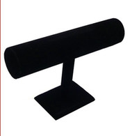 Noir-couche Bijoux Velvet Fashion Bracelet Montre Collier Bracelet Holder Display Stand Bangle T-bar Montre expédition gratuit par EMS