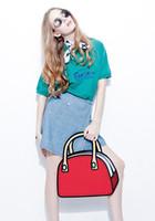Wholesale 2d Handbags - 2016 Hot Sale Women Shoulder bag 3D Cartoons bag 2D Drawing Cartoon Messenger Bags Novely Comics Paper handbag Casual hand bag
