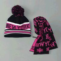 Wholesale Glove Fashion Trend - Wholesale-Winter hats for men and women Fashion trend Two-piece Cap and scarves Women's wool knit cap set scarves men