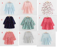 Wholesale Baby Girl Dress New Fall Autumn Spring Kids Fashion Casual long sleeve Cute flower Cherry Print Cotton Backless Dresses Christmas colors