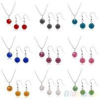 Wholesale Disco Ball Sets - Rhinestone Bead Disco Ball Crystal Necklaces Stud Earring Women Jewelry Set 08PQ