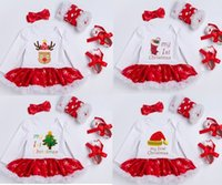 Wholesale Infant Christmas Dress Set - Hotsale Christmas Newborn clothing Infants My 1st Christmas tutu dress + leg warmer +Shoes +headbands 4pcs sets Boutique Letters Outfits