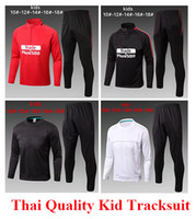 Wholesale Tranning Pants - 2017 2018 Thai quality Kids Soccer tranning suit tracksuit sweat top Real Madrid and all club Soccer tracksuits survetement with long pant