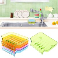 Wholesale Wholesale Plastic Soap Box - Creative Soap Holder With Drain Bathroom Accessory Molds for Soap Sink Sponge Drainage Soap Dish Plastic Box OOA3122