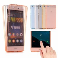 Wholesale Iphone Smart Cover Front - 360 Full Case For Cover Huawei P8 Lite Smart Touch Front and Back 2 in 1 Protective Soft TPU Clear Cover For P8 P9 P9 Lite Funda