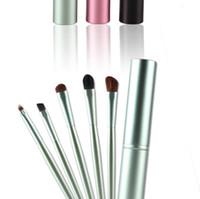 Wholesale Eye Shadow Holder - 5 PCS Makeup Eye Shadow Brushes Set Brush For Eye Make Up Tools Cosmetics Soft Eyeshadow Brush Holder Set Kits Round Tube DHL