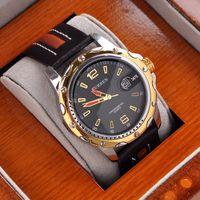 manecillas del reloj analógico al por mayor-Lujo oro para hombre vestido analógico regalo fecha reloj mano Curren marca masculino cuarzo relojes de pulsera M8104 Mix modelo gota envío por bbwatch