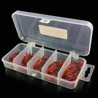 Wholesale Red Fish Rig - 51 Pieces Set Red Worm Hook High Carbon Steel Fishing Hook For Texas Rig Soft Bait 2# 1# 1 0# 2 0# 3 0#