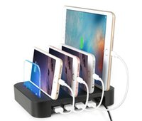 Wholesale tablet charging stand online – 4 Ports USB Charging Station Dock Multi Ports Charger Holder Tablet Stand Bracket for iphone ipad tablet