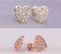 Wholesale Gold Earring Studs - replicas Czech diamond 18K White Gold plated earrings Fashion jewelry nickel free plating Rhinestone luxury brand Stud for women E006
