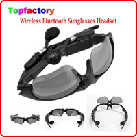 Wholesale Bluetooth Sunglasses Iphone - Fashion Stereo Bluetooth Sunglasses Handfree Support Music & Call Headphone Driving Easy Sun Glasses For Samsung Iphone LG HTC DHL free