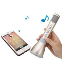 bluetooth kaydı toptan satış-K068 Karaoke Player Ile Kablosuz Bluetooth Müzik Kondenser Mikrofon Telefonları Bilgisayar Için Mic Hoparlör KTV Şarkı Kayıt