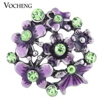 Wholesale Painted Hands - VOCHENG NOOSA 18mm Hand Painted Purple Blossom Metal Snap Button Vn-1125