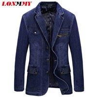 Wholesale Jeans Suits For Men - Wholesale- LONMMY Denim blazer men Cotton Jeans blazers and jackets Suits for men jacket Cowboy jaqueta masculino slim fit Fashion L-3XL