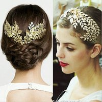 Wholesale Vintage Gold Headband - Baroque Tiara Vintage Gold Leaf Hair Accessories Bridal Headpieces Headwear Wedding Tiaras Crown Hair Jewelry Women Accessories