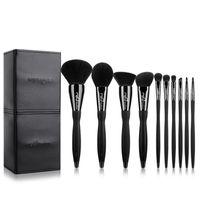 msq pincéis venda por atacado-Msq Black 10pcs Makeup Brushes Set Professional Cosmetics Sobrancelha Foundation Shadows Kabuki Maquiagem Beauty Tools Kits + Bag