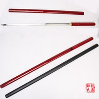 Wholesale handmade japanese swords - Martial Arts Supply For Handmade ZATOICHI Japanese Shirasaya Samurai Katana Sharp Sword 1045 Carbon Steel Red Black