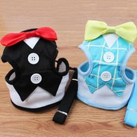Pet Dog Chest Vest Harnesses Walking Lead Leash Strap Belt Velvet Bowtie Suit Tuxedo Party Harness Clothes para Dog Cat Puppy