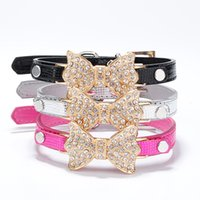 Strass di cristallo Papillon Collare per cane Collare per cane Cucciolo Gatto Pet Buckle Cani Leads Neck Strap PU Leather XS S M L