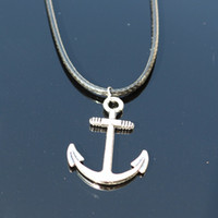 Wholesale Cheap Chain Necklaces For Men - Wholesale- NK841 collier 2017 New Men Girl Love Anchor Pendants Necklace Collares Bijoux For Women Jewelry Cheap Choker Accessories