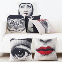 Wholesale European Sofas - European Vintage Piero Fornasetti Face Drawings Cushion Cover Red Lips Eyes Pillow Case Decorative Sofa Linen Cotton Cushions Pillows Covers