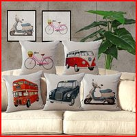 Wholesale London Cover - UK London Red Bus London Taxi Throw Pillow Case Cushion cover Cover linen cotton Square Pillowcase Home Sofa Decor Christmas gift 240450