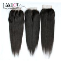 Wholesale Blonde Lace Top Closure - Brazilian Straight Virgin Human Hair Lace Closures Free Middle 3 Part Peruvian Malaysian Indian Cambodian Mongolian Hair Top Closure 4x4Size