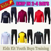 Wholesale Boys Green Suit - 2017 kids Real Madrid survetement football tracksuits 2018 Ronaldo Verratti Long pants wear Neymar JR MESSI Kids Training suit jacket