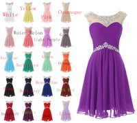 Wholesale Old Beaded Dresses - Newest Short Formal Prom Dresses Cheap Mini Prom Dress Short Pink Bridesmaid Dress 2017 Dresses Evening Wear For 9 To 12 Years Old