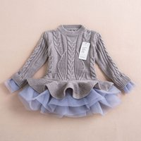 Wholesale Thick Tutu - Thick Warm Girl Dress Christmas Wedding Party Dresses Knitted Chiffon Winter Kids Girls Clothes Children CLothing Girl Dress