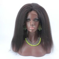 Wholesale Yaki Hair Prices - Sale Price 150 Density Italian Yaki African American Glueless Full Lace Wigs Brazilian Hair Kinky Straight Lace Front Wigs