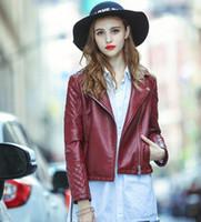 Wholesale Wine Leather Woman Jacket - S-XL New 2107 Autumn Fashion Wine Red Turn Down Collar Ladies Basic Street Women Short PU Leather Jacket
