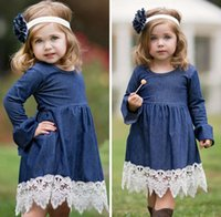 Wholesale Girls Kids Crochet Dress - Flower girl dress denim dress Girls falbala long sleeve denim lace crochet hem dresses Spring new kids princess dresses girls pleated dress