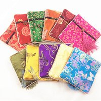 Wholesale Vintage Style Jewellery - Cheap Silk Brocade Small Gift Packaging Bags Vintage Zippered Jewellery Pouches Chinese style Coin Purse Bracelet Bangle Storage Wallet