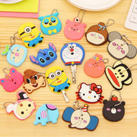 Wholesale Minion Items - 120pcs 2016 New Cartoon Minions Cute Animals Silicon Key Caps Covers Keys Keychain Case Shell Novelty Item Key Accessories Car Keychain