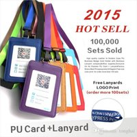 Wholesale pu leather business card holder case online - Leather Id Holders Case PU Business Badge Card Holder with Necklace Lanyard LOGO customize print company office supplies H210486
