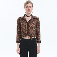Wholesale chiffon blouses designs - 2017 Women Blouses Shirts Spring Autumn Womens Tops Clothes Leopard Blouse Designs With Long Sleeve Casual Brand Slim Ladis Shirt
