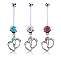 Wholesale Silver Rings For Feet - 3pcs lots Flexible CZ Pregnant Maternity Navel Belly Ring Piercing Body Jewelry Baby Feet Belly Button Rings For pregnancy Women