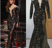 Wholesale White Beading Thread - 2016 Celebrity Evening Dresses Black Applique with Gold Thread Scoop 3 4 Long Sleeve Mermaid Sweep Train Prom Dresses Real Pictures Dresses