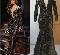 siyah balo resimleri toptan satış-2016 Ünlü Abiye Altın Aplike ile Siyah Aplike Scoop 3/4 Uzun Kollu Mermaid Sweep Tren Gelinlik Gerçek Resimler elbiseler