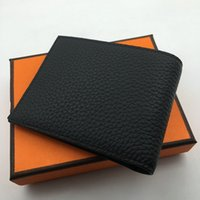 Wholesale Blue Bifold Wallet - 5 Colors Genuine Leather Men Wallets High Quality Design Wallet with Credit Card ID Holder Purses Gift For Men Card Holder Bifold Male Purse