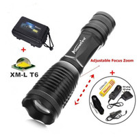 Wholesale Products Torches - New Product E007 CREE XM-L T6 2000Lm 5 Mode rechargeable LED CREE Flashlight Torch+1x18650 Battery charger car charger Flashlight Holster
