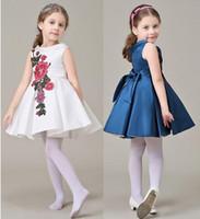 Wholesale Teenage Evening Dresses - Girls Dresses New Brand Kids Flower Tutu Toddler Print Floral Evening Teenage Party Princess Dress Children Clothing