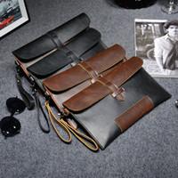 Wholesale Envelope Clutch Men - Wholesale-2016 New Elegant Pu Leather Envelope Men Casual Bags Large Capacity Mens Clutches Wristlet Handbag Bag Pouch